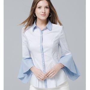 NWT WHBM Sophia Stripe Shirt Bell Sleeves